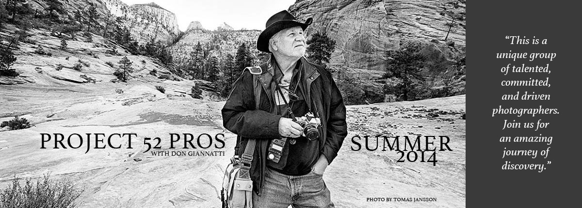Don Giannatti's Project 52 Pros. For emerging photographers.